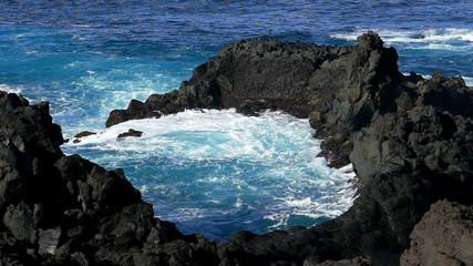 Waves Atlantic Ocean Breaking onto Rocks, slow motion