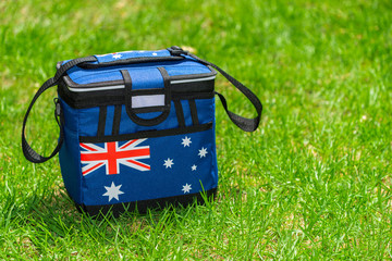 Esky cooler box in Australian Flag colors on the grass