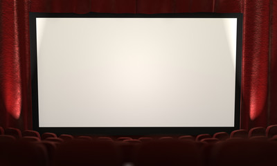 3d: Movie Screen with Spotlights to Side