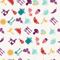 foods and tableware items pattern