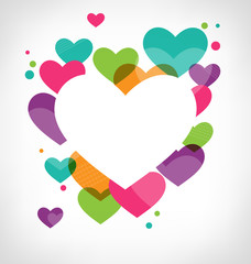 Abstract frame with multicolored hearts on grayscale background