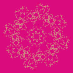 Ornament on the pink ethnic background