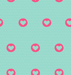 Seamless pattern with heart on light blue background
