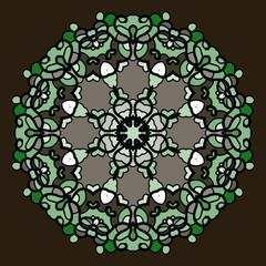 Abstract colorful circle backdrop. Geometric vector mandala.