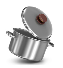 falling pot with lid on white background