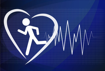 Heartbeat make running man symbol stock vector. Health concept