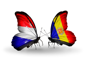 Two butterflies with flags Holland and Andorra
