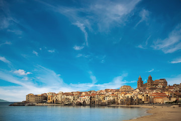 beautiful view of of Cefalu old town