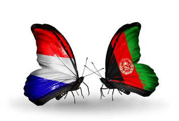Two butterflies with flags Holland and Afghanistan