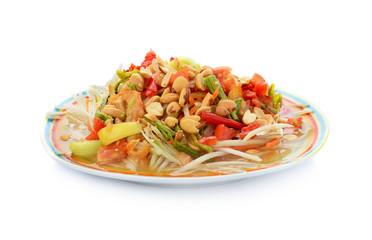 Papaya salad isolated on white