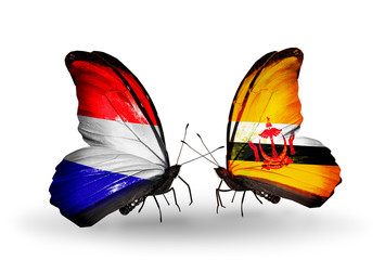 Two butterflies with flags Holland and Brunei