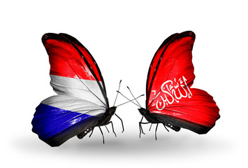 Two butterflies with flags Holland and Waziristan