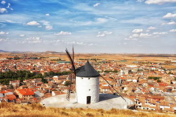 Ancient windmills in summer day, Konsuegra, Spain