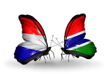 Two butterflies with flags Holland and Gambia