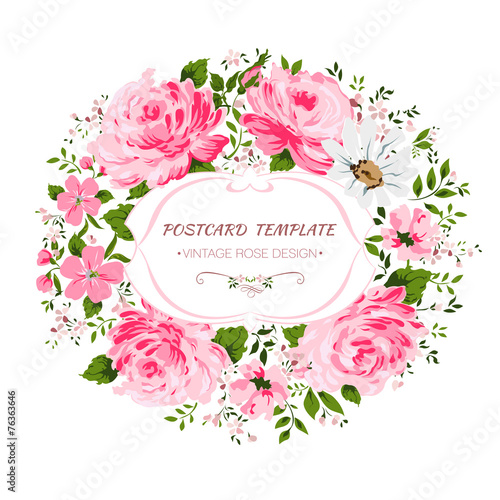 Vintage card with flowers - rose, peony, camomile. - 76363646