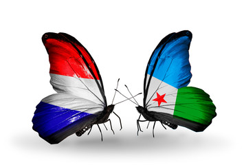 Two butterflies with flags Holland and Djibouti