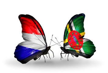 Two butterflies with flags Holland and Dominica