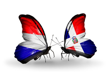 Two butterflies with flags Holland and Dominicana