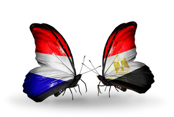 Two butterflies with flags Holland and Egypt