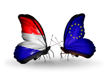 Two butterflies with flags Holland and EU
