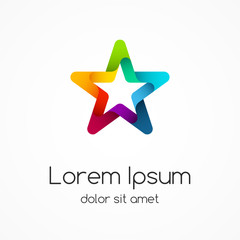 Logo template. Abstract star creative sign.
