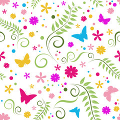 Colorful seamless background with flowers and butterflies