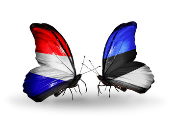 Two butterflies with flags Holland and Estonia