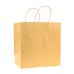 Empty brown recycled paper shopping bag isolated on white backgr