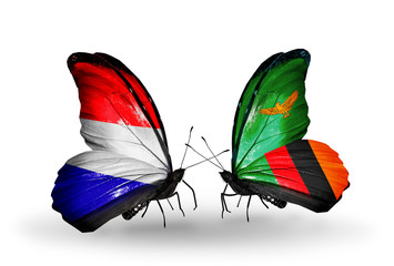 Two butterflies with flags Holland and Zambia