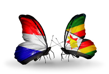 Two butterflies with flags Holland and Zimbabwe