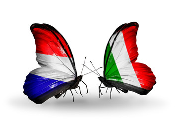 Two butterflies with flags Holland and  Italy