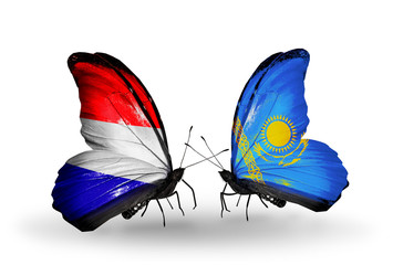 Two butterflies with flags Holland and Kazakhstan