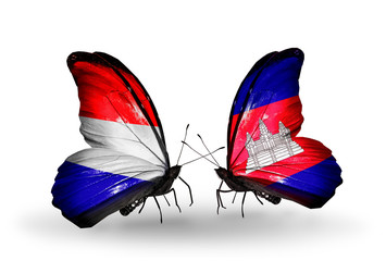 Two butterflies with flags Holland and Cambodia