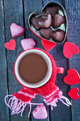 candy and cocoa in cup
