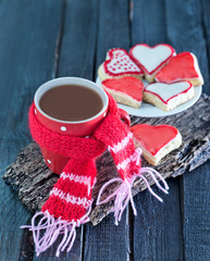 cookies and cocoa in cup