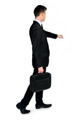 Businessman open imaginary door