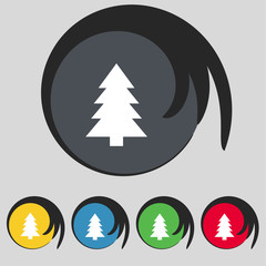 Christmas tree sign icon. Holidays button