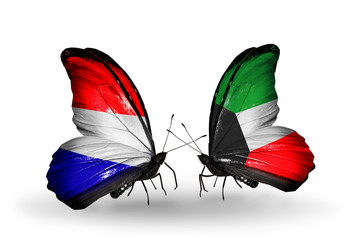 Two butterflies with flags Holland and Kuwait