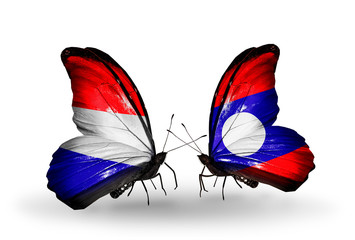 Two butterflies with flags Holland and Laos