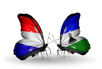 Two butterflies with flags Holland and Lesotho