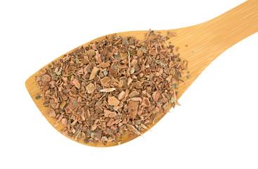 Wood spoon with witch hazel bark