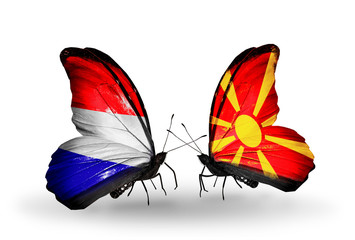 Two butterflies with flags Holland and Macedonia