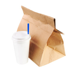 Recycle paper bag and cup of coffee or tea isolated on white bac