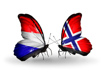 Two butterflies with flags Holland and Norway