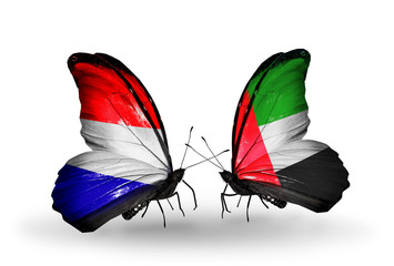 Two butterflies with flags Holland and UAE