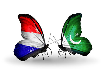 Two butterflies with flags Holland and Pakistan
