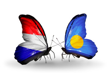 Two butterflies with flags Holland and Palau