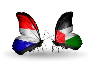 Two butterflies with flags Holland and Palestine