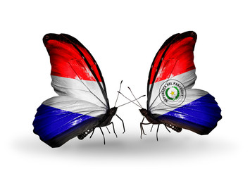 Two butterflies with flags Holland and Paraguay
