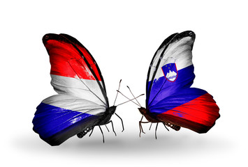 Two butterflies with flags Holland and Slovenia